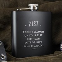 Personalised Black Hip Flask - Menkind Gifts