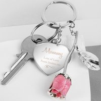 Personalised Decorative Rose and Heart Keyring - Keyring Gifts