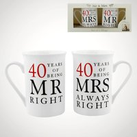 40 Years of Being Mr Right and Mrs Always Right Mugs - Mugs Gifts
