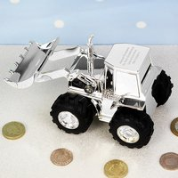 Personalised Digger Christening Money Box - Christening Gifts