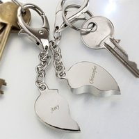 Personalised Pair of Heart Keyrings - Keyrings Gifts