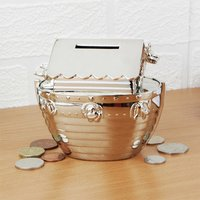 Personalised Silver Plated Noah's Ark Money Box - Money Gifts