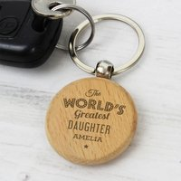 Personalised World's Greatest Wooden Keyring - Keyring Gifts