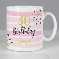Personalised Birthday Gold and Pink Stripe Mug - Menkind Gifts