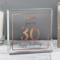 Personalised Birthday Rose Gold Crystal Token - Crystal Gifts