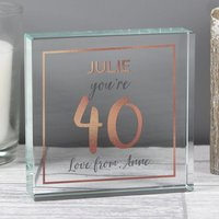 Personalised Birthday Rose Gold Crystal Token - Menkind Gifts