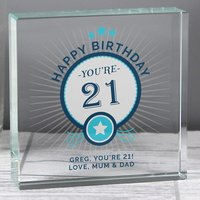 Personalised Birthday Large Crystal Token - Menkind Gifts