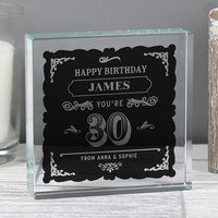 Personalised Birthday Vintage Typography Large Crystal Token - Menkind Gifts