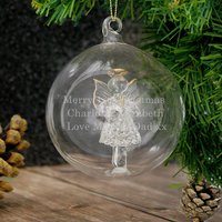 Personalised Glass Christmas Angel Bauble - Bauble Gifts
