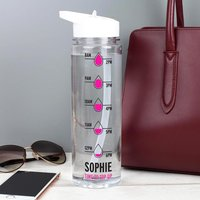 Personalised Pink 'Hydration Tracker' Island Water Bottle - Personalised Gifts