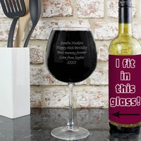 Personalised Bottle of Wine Glass - Wine Glass Gifts