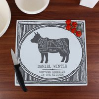 Personalised Meat Cuts Glass Chopping Board - Chopping Board Gifts