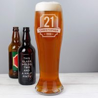 Personalised Big Age Giant Beer Glass - Menkind Gifts