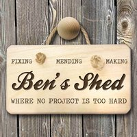 Personalised No Project Too Hard Shed Sign - Gadgets Gifts