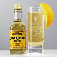Personalised Tequila Shot Glass and Miniature Tequila - Tequila Gifts