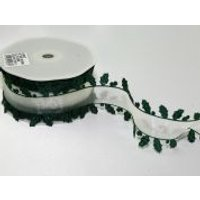 50mm Decorative Edge Holly Christmas Ribbon