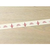 '15mm Merry Christmas & Tree Acetate Ribbon  Red