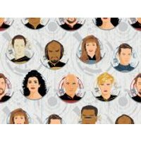 Camelot Fabrics Star Trek The Next Generation Quilting Fabric Badgers  White