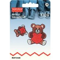 'Prym Iron On Embroidered Motif Applique Small & Large Teddy With Hearts