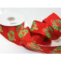 38mm Wired Merry Christmas Print Ribbon  Multicoloured