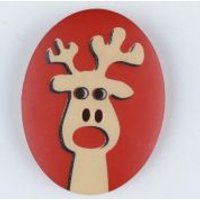 'Dill Reindeer Christmas Buttons  Red