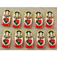 'Dill Russian Doll Shaped Novely 2 Hole Plastic Buttons  Red