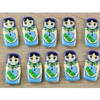 'Dill Russian Doll Shaped Novely 2 Hole Plastic Buttons  Blue