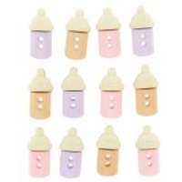 'Dress It Up Shaped Novelty Buttons Baby Bottles Girl