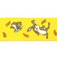 40mm Wire Edge Easter Bunnies Print Ribbon  Yellow
