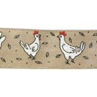 40mm Wire Edge Easter Chicks Print Ribbon  Grey