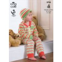 'King Cole Baby Onesies & Hat Comfort Knitting Pattern 3734  Dk