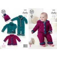 King Cole Baby Sweater, Coat, Onesie & Hat Comfort Knitting Pattern 4558 Chunky