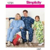 'Simplicity Adult, Teen's & Childrens Sewing Pattern 1731 Onesies Fleece Jumpsuits