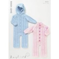 'Hayfield Baby All-in-one Onesies Knitting Pattern 4501  Aran