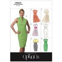 Vogue Ladies Easy Sewing Pattern 8633 High Neck Fitted Dresses
