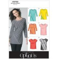 Vogue Ladies Easy Sewing Pattern 8792 Jersey T-Shirt Tops