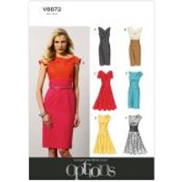 Vogue Ladies Easy Sewing Pattern 8872 Lined Fitted Dresses