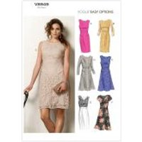 Vogue Ladies Easy Sewing Pattern 8949 Fitted Dresses with Inset Bands