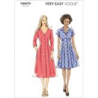 Vogue Ladies Easy Sewing Pattern 8970 Button Up Shirt Dresses