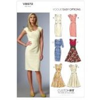 Vogue Ladies Easy Sewing Pattern 8972 Lined Dresses with Cup Sizes