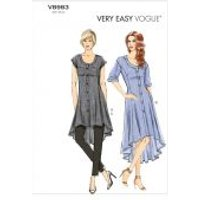 Vogue Ladies Easy Sewing Pattern 8983 Tunic Top, Dress & Pants