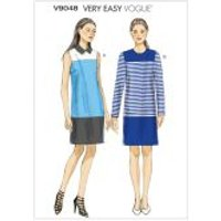 Vogue Ladies Easy Sewing Pattern 9048 Colour Block Lined Dresses