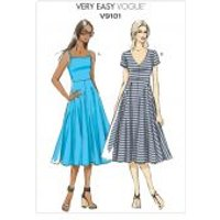 Vogue Ladies Easy Sewing Pattern 9101 Stretch Knit Jersey Dresses