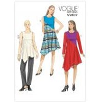 Vogue Ladies Easy Sewing Pattern 9107 Colour Block Tunic Top, Dresses & Pants
