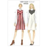 Vogue Ladies Easy Sewing Pattern 9122 Lined V Panel Dresses
