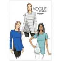 Vogue Ladies Easy Sewing Pattern 9169 Contrast Underlay Jersey Knit Tops