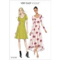 Vogue Ladies Easy Sewing Pattern 9199 Jersey Knit Fit & Flare Dresses