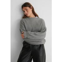 NA-KD Balloon Sleeve Knitted Sweater TEST - Grey