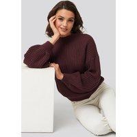 NA-KD Balloon Sleeve Knitted Sweater TEST - Burgundy
