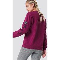 NA-KD Rose Embroidery Sleeve Sweater - Purple
